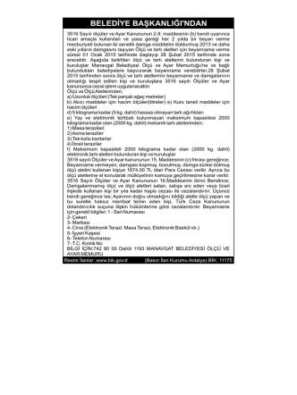 21.01.2015 Manavgat Belediyesi ölçü Ayarları