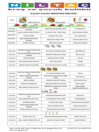 02.03.2015–31.03.2015 tarihleri arası yemek listesi