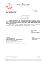 Müdürlüğümüzün konu ile ilgili 24/02/2015 tarih ve 2028928 sayılı