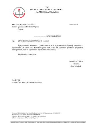 89765295/622/2155252 26/02/2015 Konu: Çanakkale B