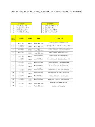 2014-2015 OKULLAR ARASI KÜÇÜK ERKEKLER FUTBOL