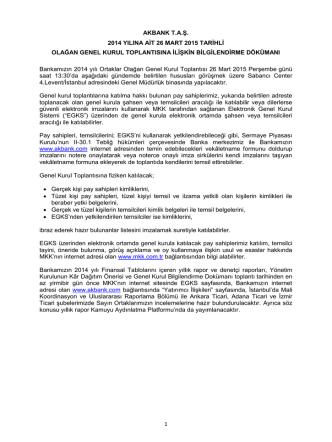 Akbank Genel Kurul Bilgilendirme Dokümanı
