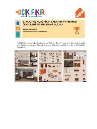 """5.KOÇTAŞ`ın sponsorluğunda düzenlenen """"Açık fikir Tasarım"""