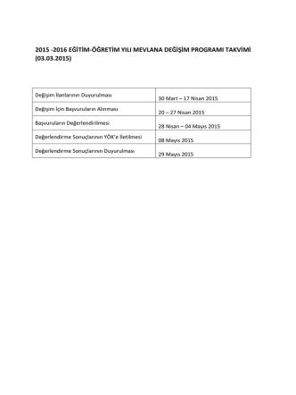 2015 -2016 eğitim-öğretim yılı mevlana değişim programı takvimi