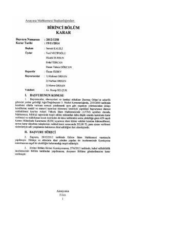 Anayasa Mahkemesinin 19/11/2014 Tarihli ve 2012