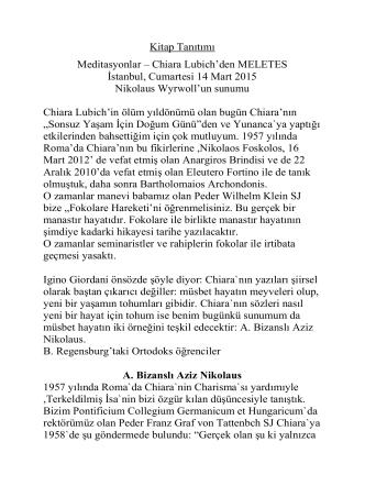 Chiara Lubich`den MELETES İstanbul, Cumartesi 14 Mart 2015