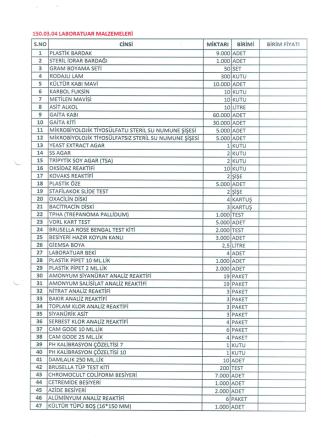 150.03.04 LABORATUAR MALZEMELERİ
