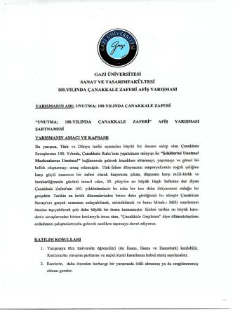 100. yılında Çanakkale Zaferi Afiş Yarışması Duyurusu
