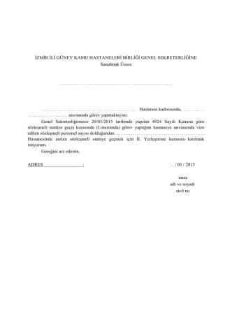 Başvuru Dilekçe (II. Oturum) - İzmir Güney Kamu Hastaneleri Birliği