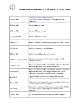 2015-2016 Erasmus+ Öğrenci Öğrenim ve Staj Hareketliliği Faaliyet