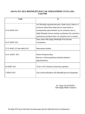 ADANA İLİ AİLE HEKİMLİĞİ 2015/3. EK YERLEŞTİRME UYGULAMA