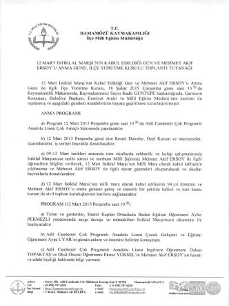 12 Mart İstiklal Marşımızın Kabulu Toren Programı 09.03.2015 13:57