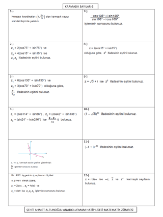 1-) 7-) 2-) 8-) 3-) 9-) 4-) 10-) 11-) 12-) karmaşık sayılar-2 şehit