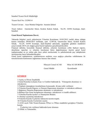 ACAR MENKUL DEĞERLER A.Ş. 09.04.2015 Tarihli 2014 Faaliyet