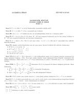 Fen Fakültesi Matematik Bölümü Lineer Cebir