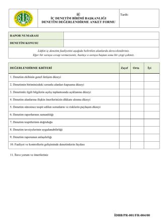 Denetim Değerlendirme Anket Formu
