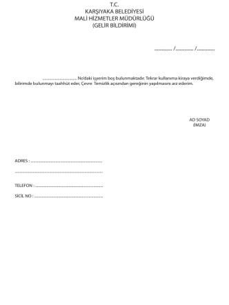 ÇTV İşyeri Boş Olduğunun Bildirim Formu