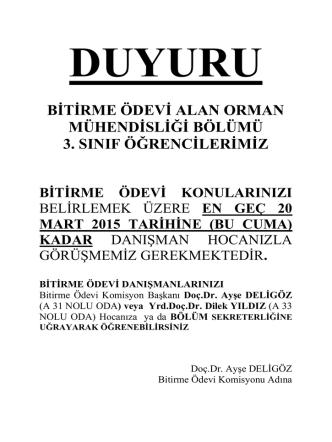 BİTİRME ÖDEVİ ALAN ORMAN MÜHENDİSLİĞİ BÖLÜMÜ 3. SINIF