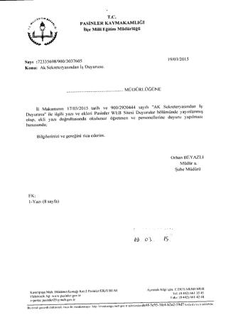Ak Sekreteryasından İş Duyurusu 20.03.2015 10:51