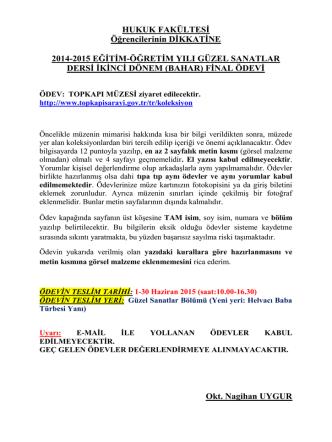 2014-2015 öğretim yılı güzel sanatlar dersi bahar dönemi final ödevi