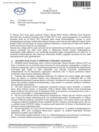 2015 Yılı Genel Seçimleri İle İlgili Yasaklar