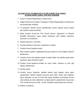 30.03.2015 tarihli Olağan Genel Kurul Gündemi