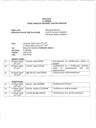 2014-2015 - ODTÜ | YDYO Temel İngilizce Bölümü