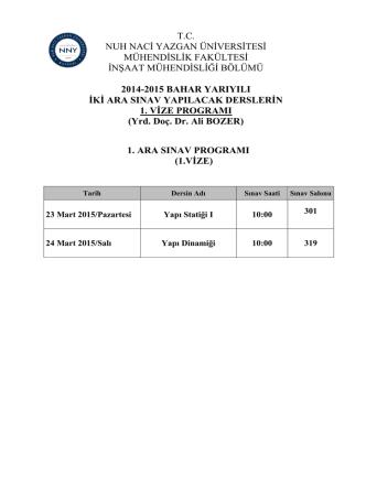 1. ara sınav programı - Nuh Naci Yazgan Üniversitesi