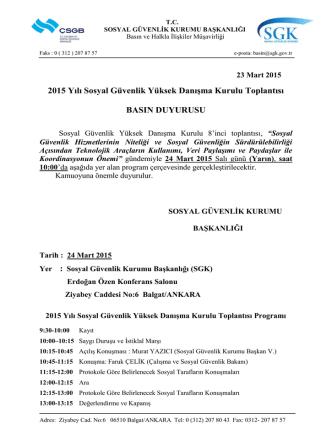 CACHEID=00a1353a-b304-4634-b080-3d35b354ca44;Basın Açıklaması-Sosyal Güvenlik Yüksek Danışma Kurulu Toplantısı