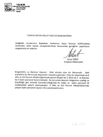 ardahan mv. ensar öğüt`ün başbakan yardımcısı numan kurtulmuş`a