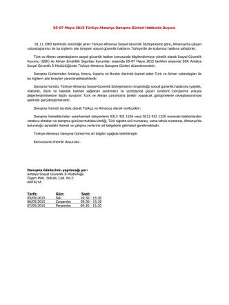 CACHEID=4bfa6aa3-d0fb-4ae0-b458-f6761b0deba4;05-07 Mayıs 2015 Türkiye Almanya Danışma Günleri Hakkında