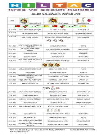 01.04.2015–30.04.2015 tarihleri arası yemek listesi