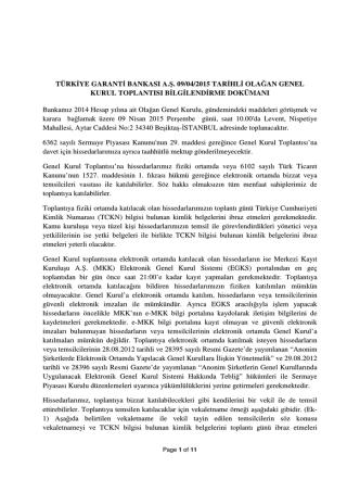 05 Mart 2015 Olağan Genel Kurul Toplantısı