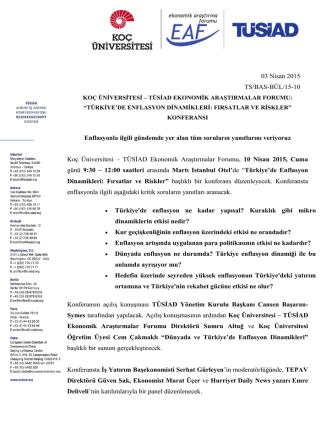 03 Nisan 2015 TS/BAS-BÜL/15-10 Enflasyonla ilgili