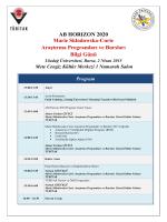 AB HORIZON 2020 Marie Skłodowska-Curie Araştırma Programları