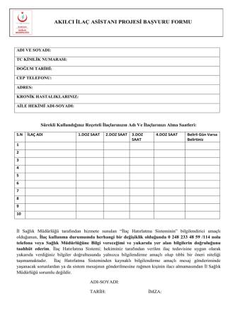 akılcı ilaç asistanı projesi başvuru formu