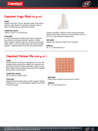 Capatect Fuga Filesi (70 gr/mzı