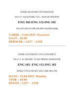 ENG 102-ENG 112-ING 102 TARİH : 13.04.2015 Pazartesi SAAT