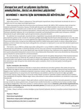 Avrupa`da devrimci bir 1 MAYIS için seferberliği büyütelim!