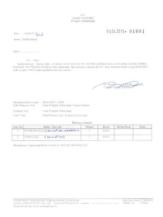 06.04.2015* 01601 - Uşak İl Sağlık Müdürlüğü