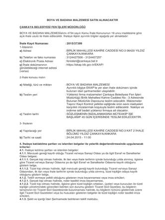 Çankaya Belediye Başkanlığı Fen İşleri Müdürlüğü Boya ve Badana