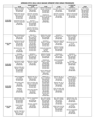 2014-2015 Bahar Dönemi Vize Programı