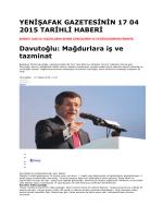 YENİŞAFAK GAZETESİNİN 17 04 2015 TARİHLİ HABERİ Davutoğlu