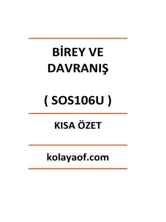 BİREY VE DAVRANIŞ ( SOS106U )