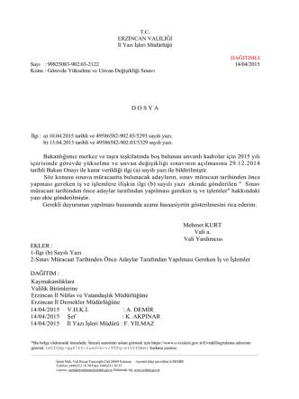 14.04.2015 Tarih ve 2122 Sayılı Yazı indirmek için