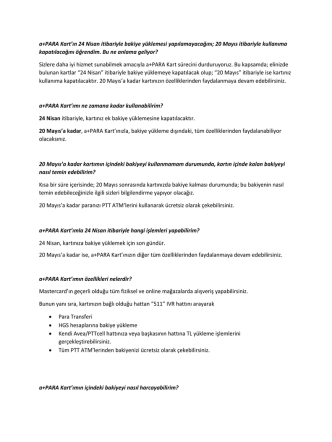 a+PARA Kart`ın 24 Nisan itibariyle bakiye yüklemesi