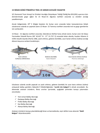 2015 trol ve gırgır araçları ile av yasağı