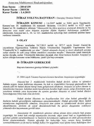 2014/139, K: 2015/36 Sayılı Kararı