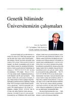 Genetik Biliminde ÜniversitemizinÇalışmaları