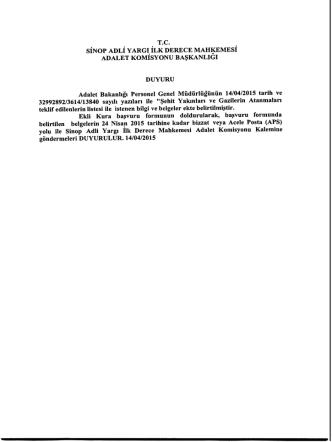 14.04.2015 Sinop Mülhakat Adliyelerine Şehit